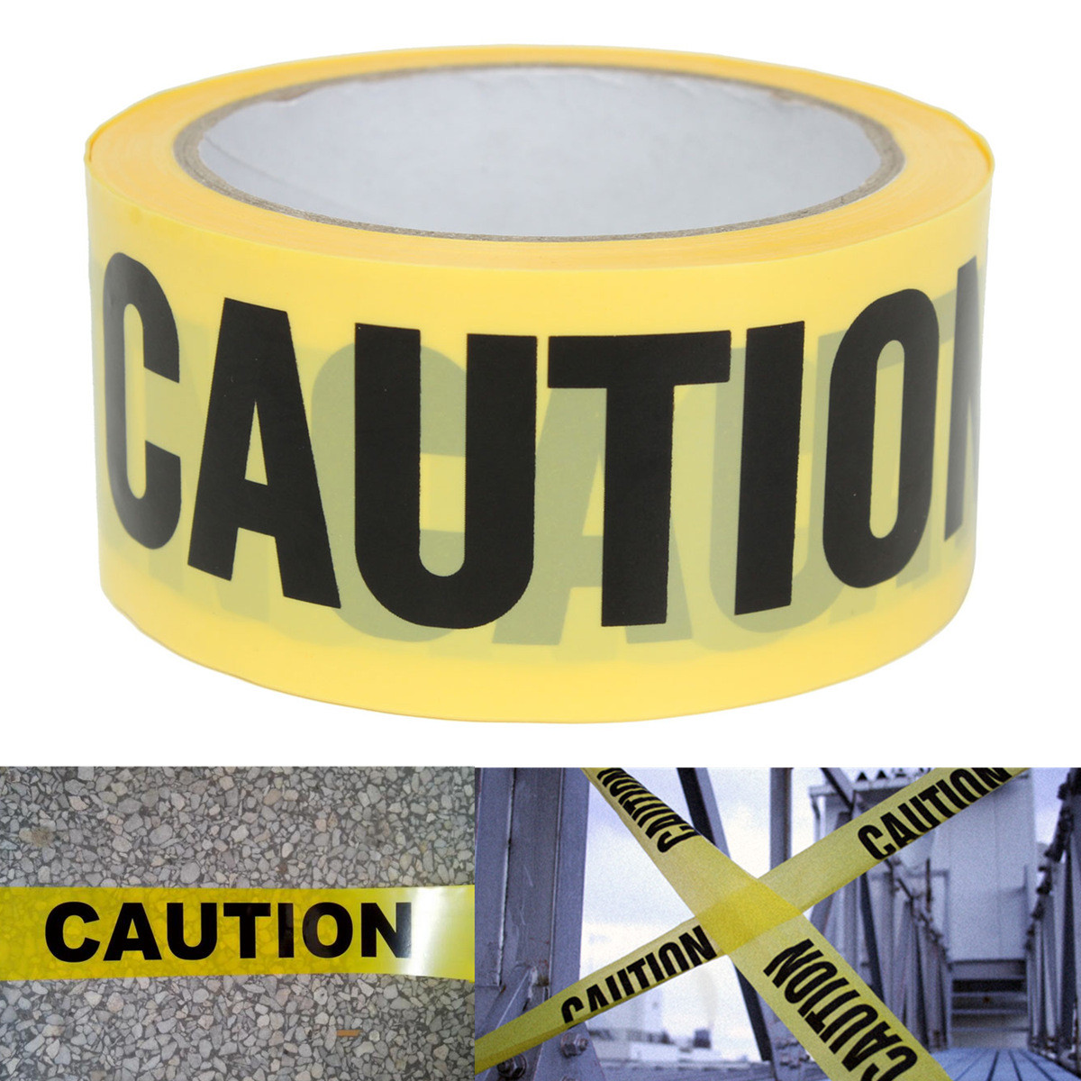 Roll Yellow Caution Warning Adhesive Tape Sticker For Safety Barrier For Police Barricade Contractors Maintenance 50mx5cm