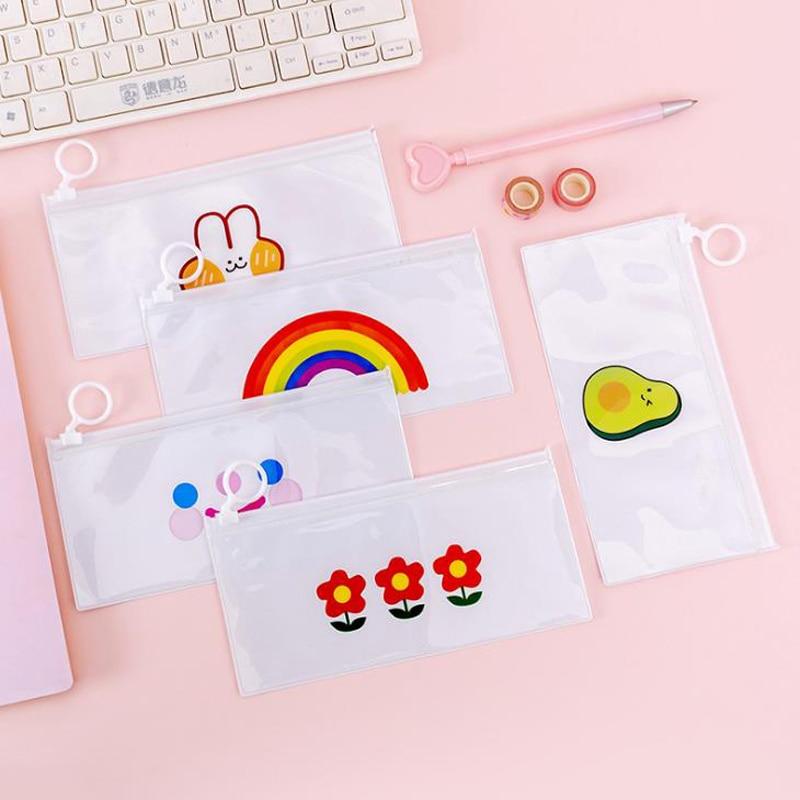 1 Pcs Cute Avocado Rabbit Peach Rainbow Transparent Pencil Case PVC Pencil Bags Korean Stationery Pouch Gift School Supplies