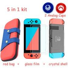 Bolsa de almacenamiento para consola de juegos 5 en 1, carcasa dura para Nintendo Switch Estuche de transporte + película de vidrio templado + agarre para el pulgar