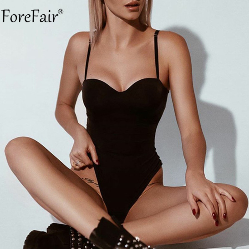 Forefair Summer Party 2020 Women Bodysuit Black Summer Backless Sexy Body Top Spaghetti Strap Sleeveless Casual Bodysuits