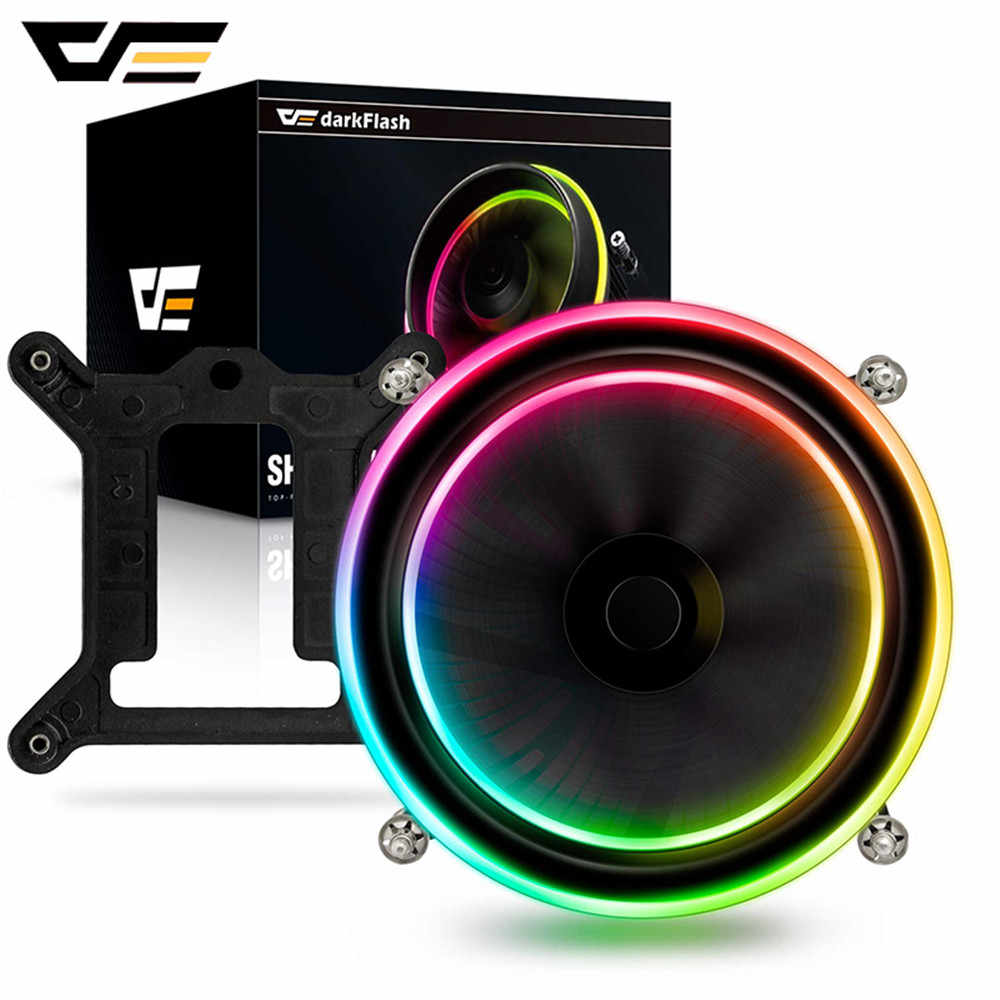 Darkflash Shadow Pwm Cpu Koeler Aura Sync Cooling Dubbele Ring Led Fan 100 Mm 3pin + 4pin Radiator Voor Lga 1156/1155/775 Tdp 280W