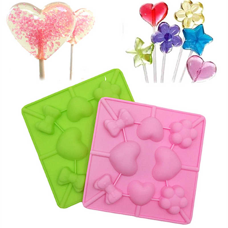DIY Lollypop Chocolate Mould Silicone Lollipop Mold Ice Tray Mold Ice Cube Lollygags Candy Pudding Love Bowtie Flower Kid