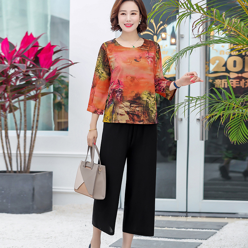 Middle-aged Women Dress Spring And Autumn Western Style Nobility Elegant Long Sleeve Pants Set Middle-aged 2019 New Style Grandm