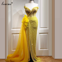 Plus Size Yellow Cocktail Dress Party Turkish Prom Dress Long Mermaid Evening Gowns 2020 Abendkleider Feathers Suknia Slubna