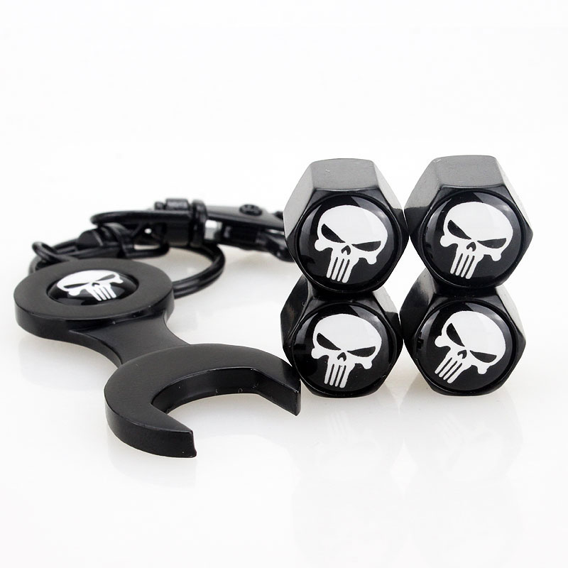 4pcs Skull Car Tire Wheel <font><b>Valve</b></font> <font><b>Caps</b></font> with 1pcs Wrench Car Keychain Holder for Motorcycle Bike Accessories for <font><b>BMW</b></font> 1 3 5 x1 x3 x5 image