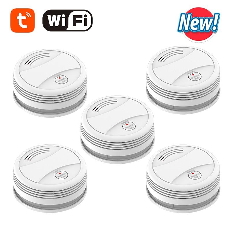 CPVan 5pcs/Lot Smoke Detector WiFi Tuya Smart Life APP Smoke Sensor Detector Smart Portable Detector Smoke 2.4G WiFi датчик дыма