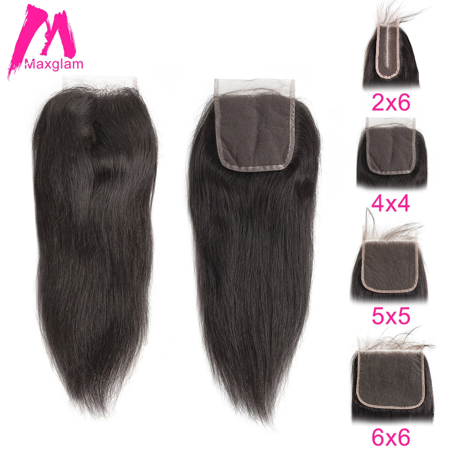 Brazilian Human Hair Lace Closure Straight 5x5 6x6 2x6 4x4 Frontal Closure PrePlucked Natural Short Long Remy For Black Women
