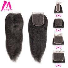 Brezilyalı insan saçı dantel kapatma düz 5x5 6x6 2x6 4x4 Frontal kapatma önceden koparıp doğal kısa uzun Remy siyah kadınlar için