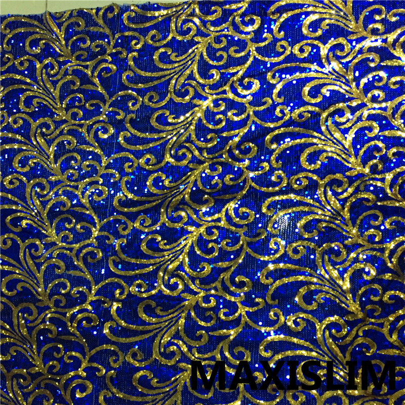 Diy 1 Yard Popular Hot Sale 5mm + 3mm Sequin Fabric African Mesh Embroidery For Wedding Daily Important Occasions 130CM Wide