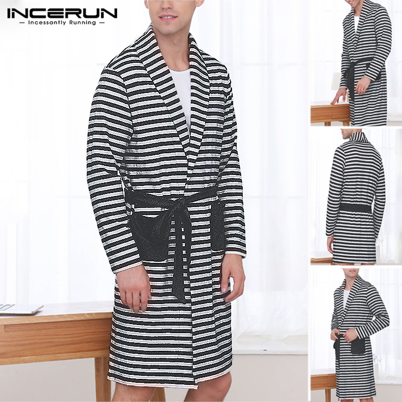 INCERUN New Fashion Men's Literary Nightgown Striped Lapel Pocket Long Sleeve 2019 Loose Tie Long Paragraph High Quality Robe