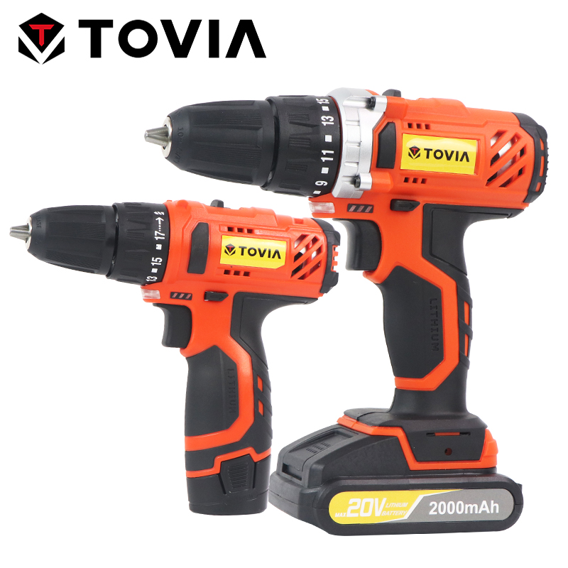 TOVIA 12V 20V Cordless Drill 35N.m Torque Electric Drill Hand Drilling Machine Lithium-Ion 3/8-Inch Battery Power Drill 2000mAh