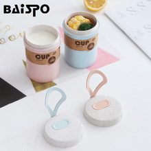 Baispo Portable Wheat Straw Soup Cup Plastic Leakproof Lunch Box Japanese Mini Bento Box Porridge Cup Creative Food Container(China)