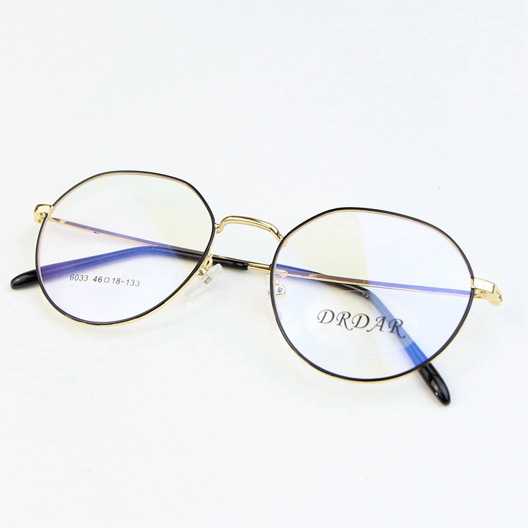 DRDAR Women's Eyeglasses 6033 Frames Metal Retro round style Men Optical frame plain glass Can be equipped with lenses