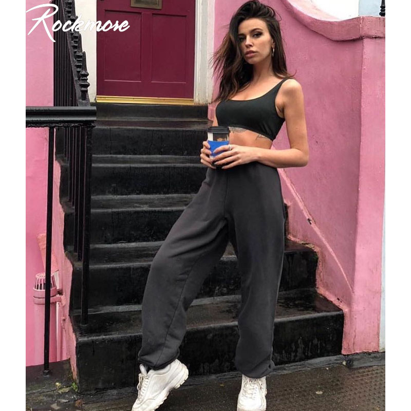 Rockmore Gray Harajuku High Waisted Trousers Women Jogger Hip Hop Pants Women Black Pencil Pants High Waist Joggers Sweatpants