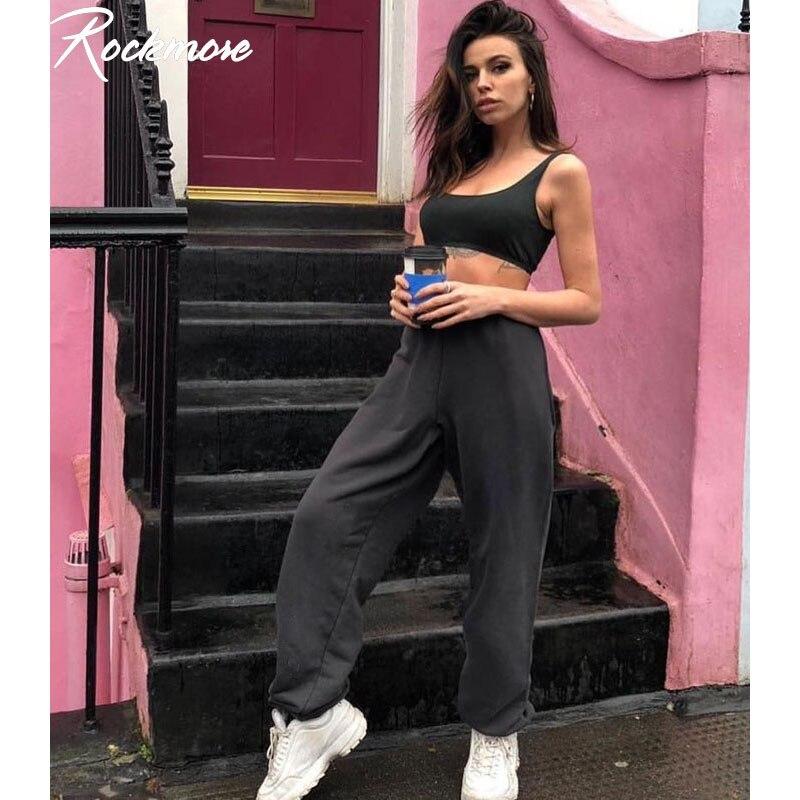 Rockmore High-Waisted Trousers Pencil-Pants Joggers Harajuku Black Women Gray