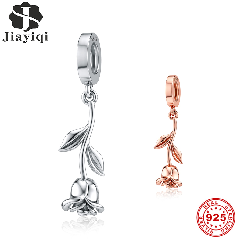 Jiayiqi Silver & Gold Rose Flower Charms 925 Sterling Silver Beads Fit Pandora Original Bracelets & Necklaces DIY Jewelry Gift