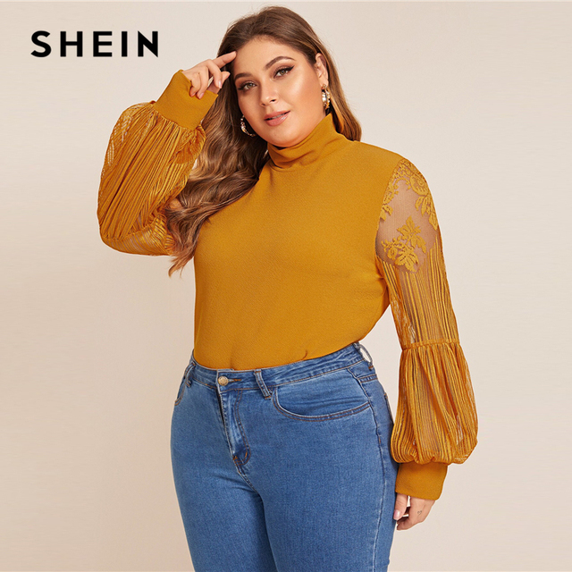 SHEIN Plus Size Black Mock Neck Lace Lantern Sleeve Fitted Top Women Autumn Solid Elegant Office Lady Womens Tops and Blouses 4