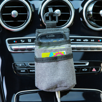Car Pockets Outlet Air Vent Storage Pocket Mobile Phone Pouch Car Storage Bag Automobile Accessories Organizer Stowing Tidying image