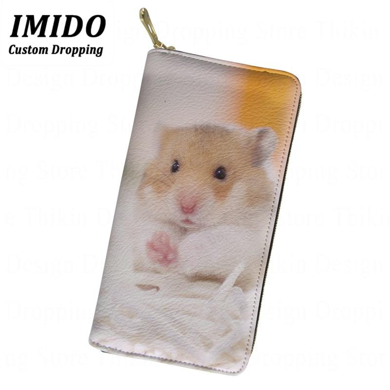 Cute Hamster Golden Bear 3D Printing Women's Wallets PU Leather Long Coin Purse Female Famous Brand Card Holder Portmonee