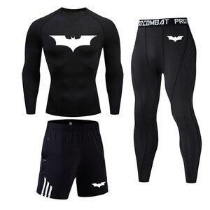 Men's Sports Suit MMA rashgard male Quick drying Batman Sportswear Compression Clothing Fitness Training kit Thermal Underwear(China)