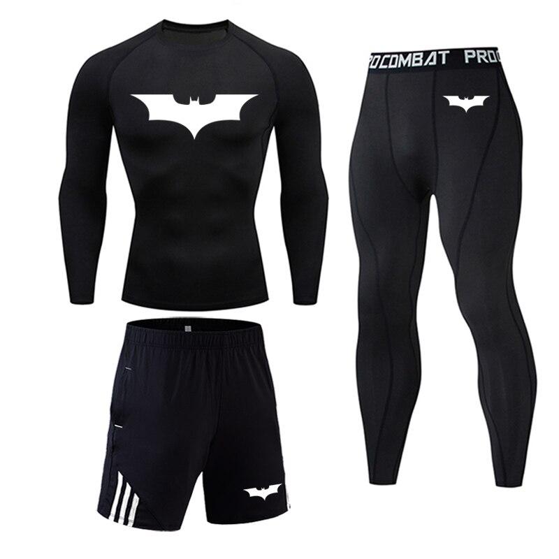 Traje deportivo para hombre ropa de compresión Fitness kit de entrenamiento ropa interior térmica MMA rashgard hombre de secado rápido Batman ropa deportiva