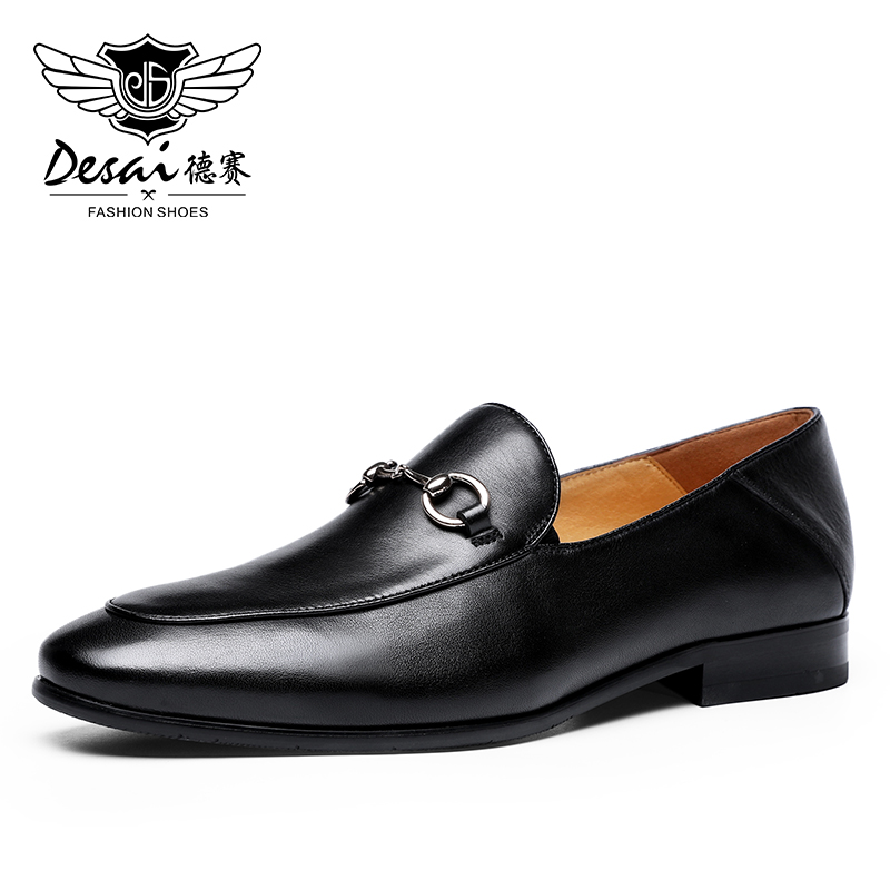 DESAI Lofers Luxury Loafer Men Leather Slip On Man Flats Casual Shoes Mens Car Driving Shoes Italian Black