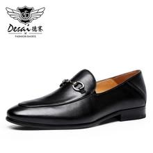 DESAI Lofers الفاخرة متعطل الرجال جلدية الانزلاق على رجل الشقق حذاء كاجوال رجل سيارة أحذية قيادة الإيطالية الأسود