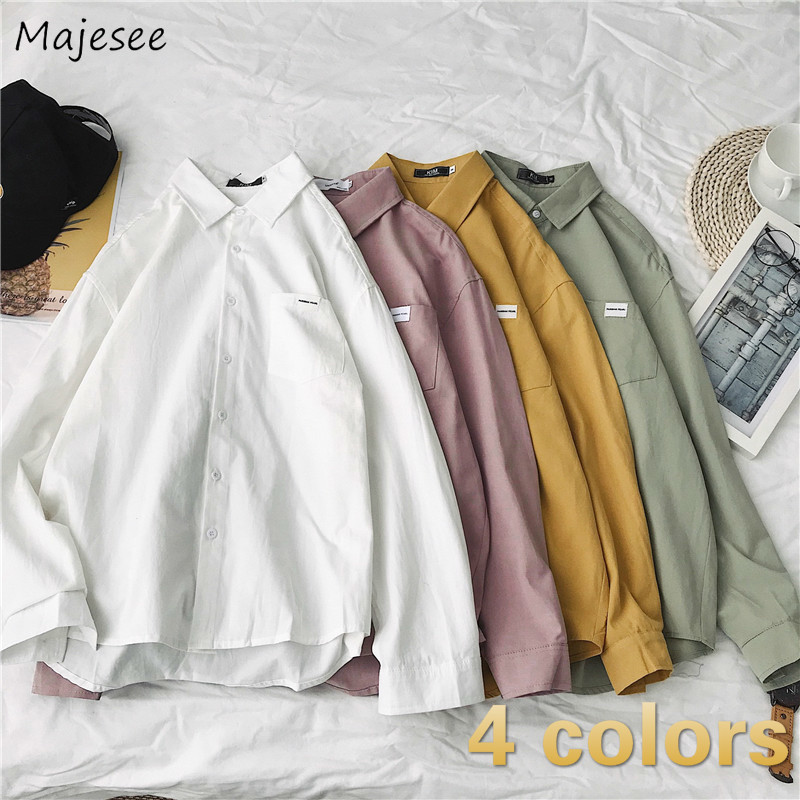 Men Shirts Chic Leisure Korean Style Simple Solid Turn-down Collar Mens Plus Size 2XL All-match Harajuku Loose Long Sleeve New