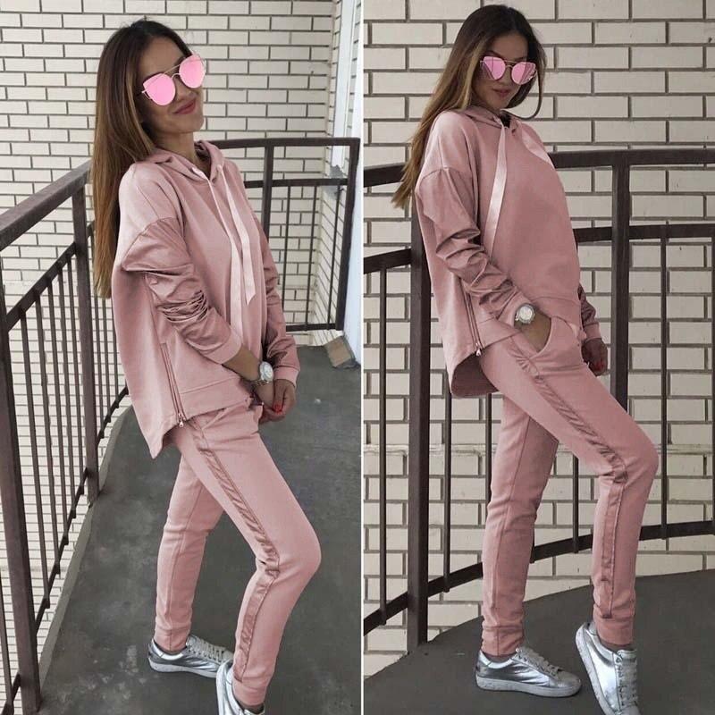 2019 Fashion New Plus Size Contrast Solid Color Splice Zipper Hooded Sweatshirts Oversized Suit Sportswear Women Hoodies Female