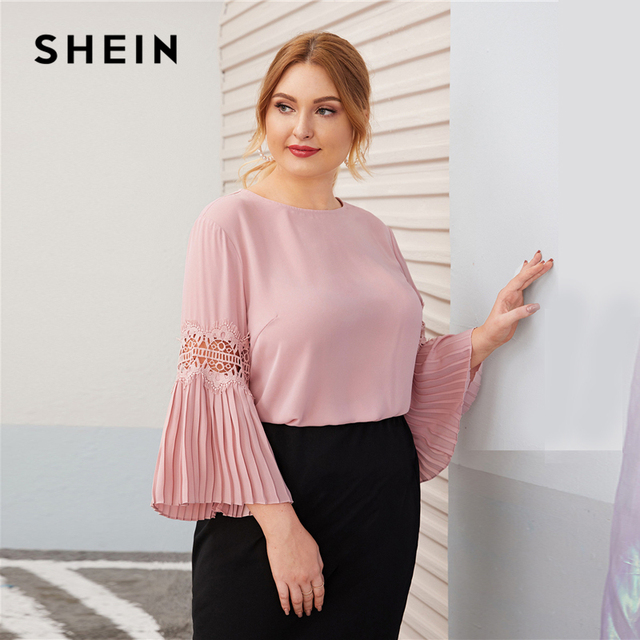 SHEIN Plus Size Pink Keyhole Back Lace Insert Pleated Sleeve Top Women Autumn Round Neck Solid Elegant Office Lady Plus Blouses 2