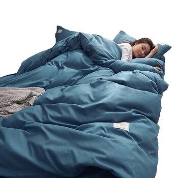 Solid Color 4pcs Bedding Set Cotton Sanding Double Spell Bed Sets Bedclothes Duvet Cover Sheets Pillowcase Comfortable Coverings