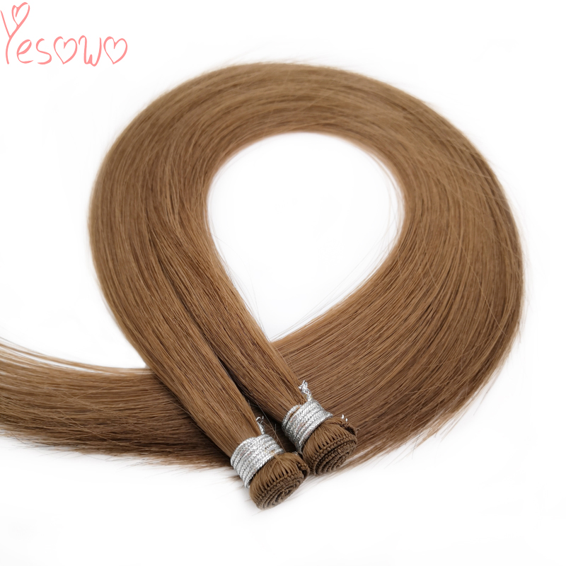 Yesowo Hand Tied Human Hair Weft Extension Brown Color Straight Peruvian Remy Human Hair 17g/piece Cheap Weave Hair