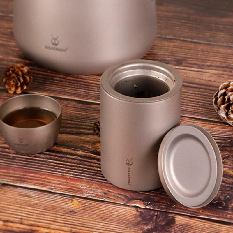 EDC Titanium Double Deck Coffee Tea Mug Cup Portable Outdoor Travel Coffer Tea Maker with Titanium Strainer EDC Tools 180ml