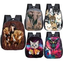 Schoolbags Cat/Dog/lion-backpack Bookbag Kids Bag Small Girls Boys Cartoon Children 12inch