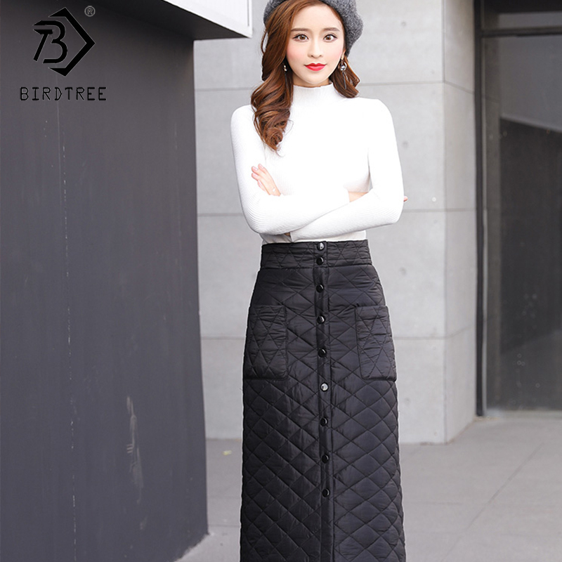 2019 Winter New Arrival Women's Solid Down Skirt A-Line Buttons High Waist Thick And Warm Midi Casual Skirt B99612K