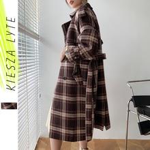 Long Jacket Coats Brown Check BELTED Office Plaid Vintage Black Autumn Woollen Winter