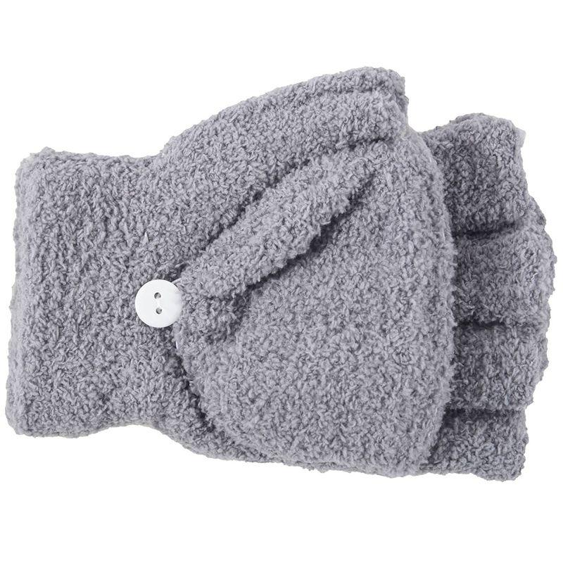 Girls Cute Fluffy Hand Wrist Warmer Soft Winter Fingerless Gloves Women Mitten Dark Gray