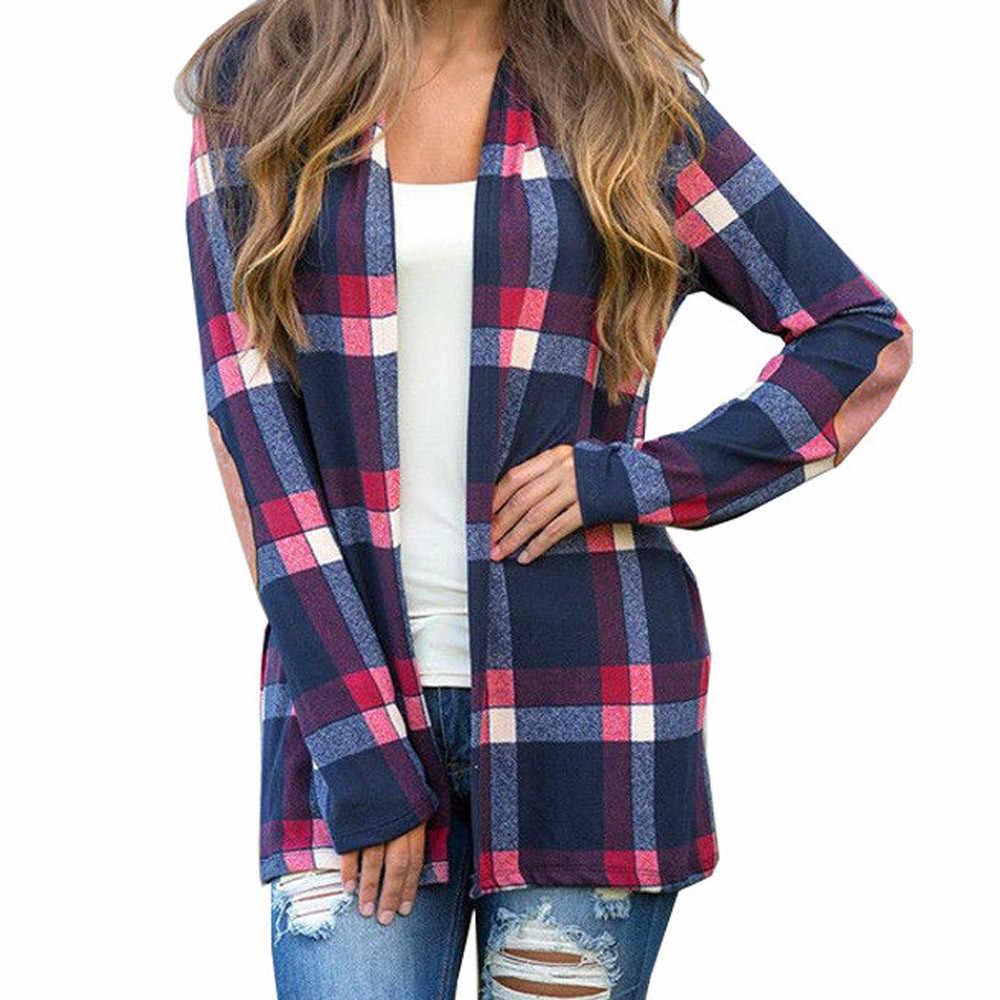 Plaid Jacken Frauen Winter Herbst Mäntel Plus Größe Mäntel Weibliche Große Tops Pullover Bluse Vorne Offen Jacke Mantel Oberbekleidung