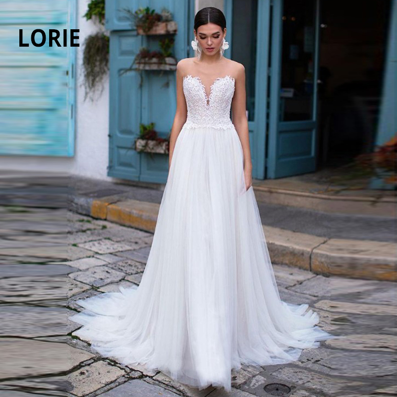 LORIE 2020 A-line Beach Wedding Dresses Summer Boho Bride Dress Back Illusion Lace Appliques With Tulle Wedding Gowns Plus Size