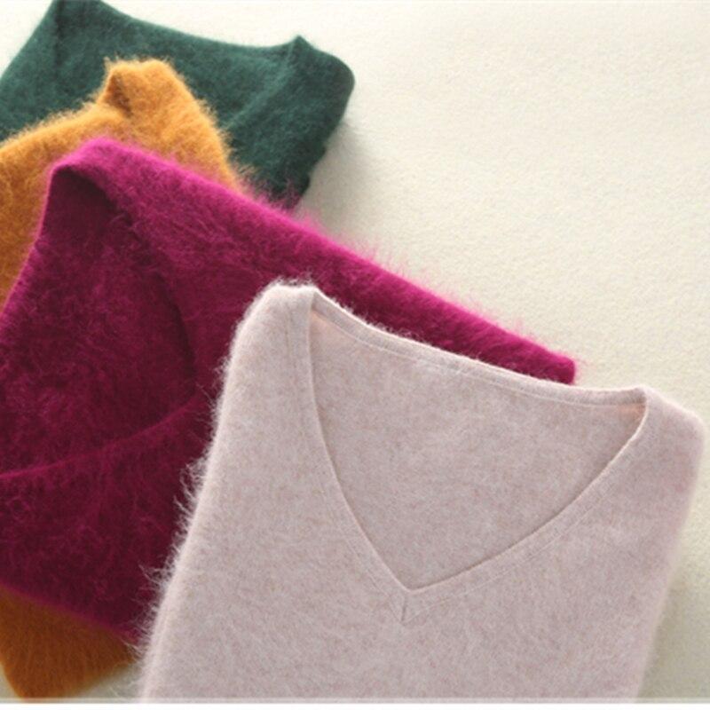 Зимний женский свитер с треугольным вырезом; Трикотажный пуловер 100% норковый кашемировый джемпер женский сплошной Цвет; Толстая подошва; М...
