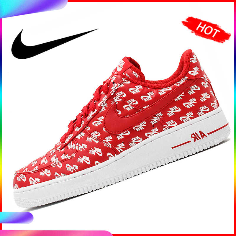 Original authentique Nike Air Force 1 07 QS hommes chaussures de Skateboard classique respirant en plein Air Sport mode af1baskets AH8462-001