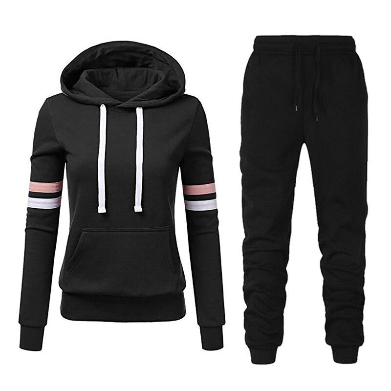 2020 Brand New 2 Piece Set Women Stripe Hoodies Pant Clothing Set Warm Ladies Solid Tracksuit Top Pants Suit Female