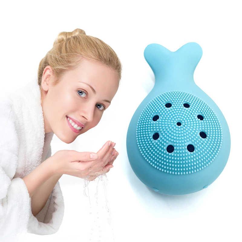 Mới Dẻo Silicone Rửa Mặt Bàn Chải Rửa Mặt Lỗ Chân Lông Bụi Tẩy Tế Bào Chết Da Mặt Tẩy Tế Bào Chết Mút Rửa Chăm Sóc Da Bạch Tuộc Cá Voi Hình