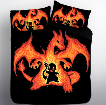 Good quallity Luxury NEW 3D Super Cartoon Devil Dragon Flame Bedding Set Twin Queen King Double Bedclothes Bed