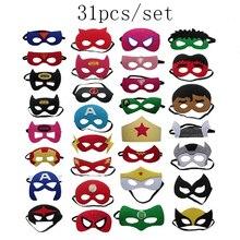 31 Stks/set Super Hero Cosplay Masker Halloween Party Dress Up Kostuum Masker Kids Verjaardagsfeestje Super Hero Gunst Geschenken Gratis verzending