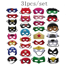 31pcs/set Super Hero Cosplay Mask Halloween Party Dress Up Costume Mask Kids Birthday Party Superhero Favor Gifts Free Shipping