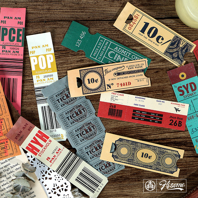 30 Pcs/set Vintage Tickets Carft Paper Retro Tickets Series Memo Pad Sticky Notes Escolar School Supply Bookmark Notepad Label