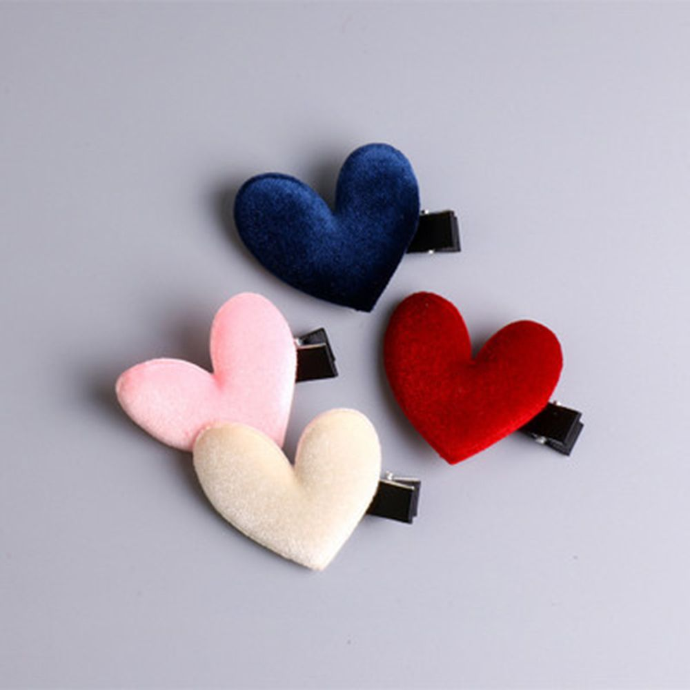 1Pcs New Vintage Velvet Lovely Hairpin Korea Heart Shape Hair Clip Barrettes Fashion Hairpin Women Hair Accessories Dropshipping