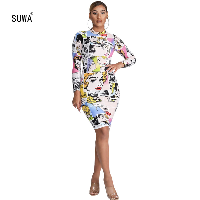 2019 Comic Marilyn Monroe Dress Sheath Knee Length Dress Fashion Autumn Streetwear Women Long Sleeve Vestidos Clubwear ALS150G