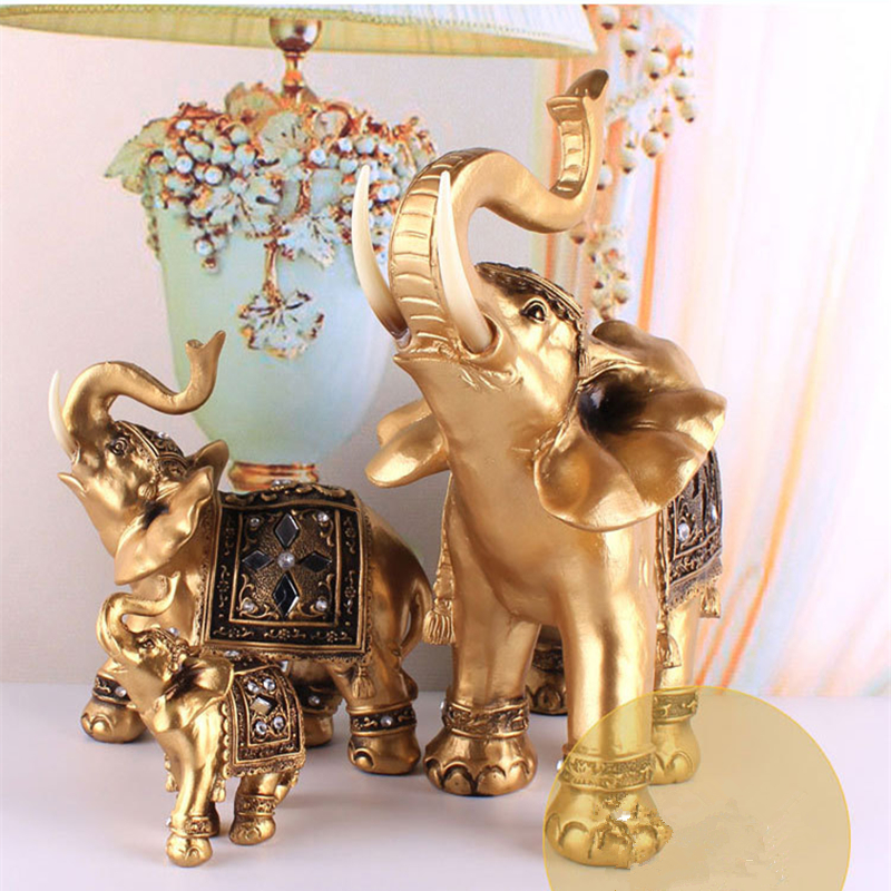 Home Gift Golden Resin Elephant Statue Lucky Feng Shui Elegant Elephant Trunk Statue Lucky Wealth Figurine Crafts Ornaments